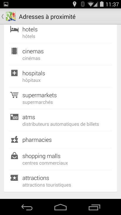 Recherche par catégories GoogleMaps 2