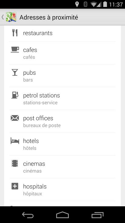 Recherche par catégories GoogleMaps