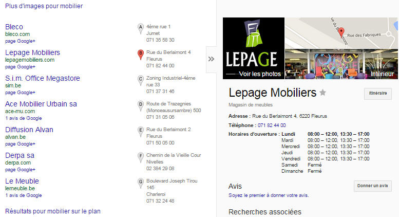 GoogleMaps mobilier