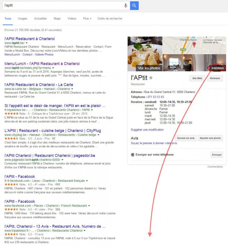 LAPtit visite virtuelle Google vignette intérieur dans le panneau de recherche Google