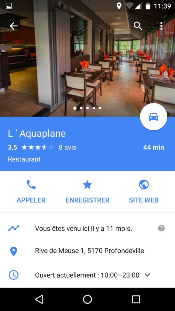 L'Aquaplane fiche Google mobile2