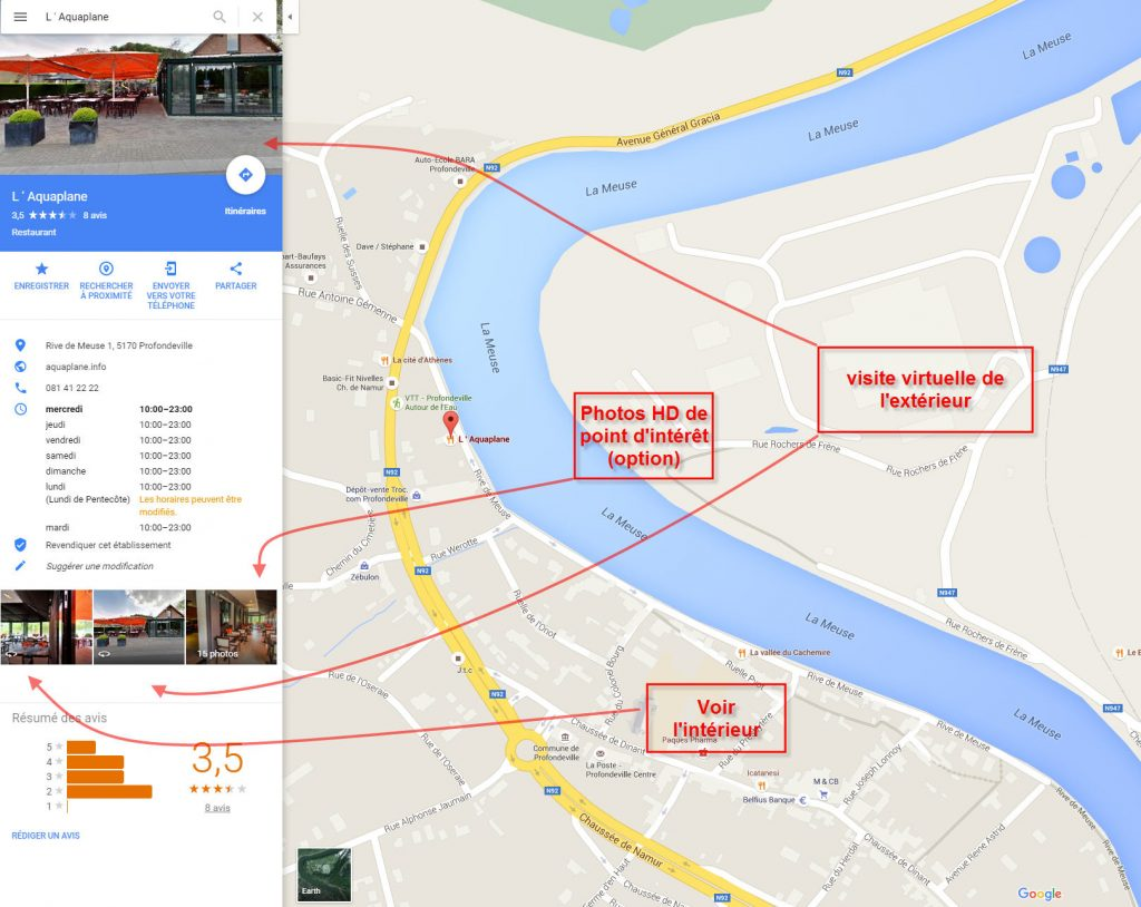 L'Aquaplane visuel Google Maps